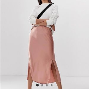 Dark blush satin midi skirt